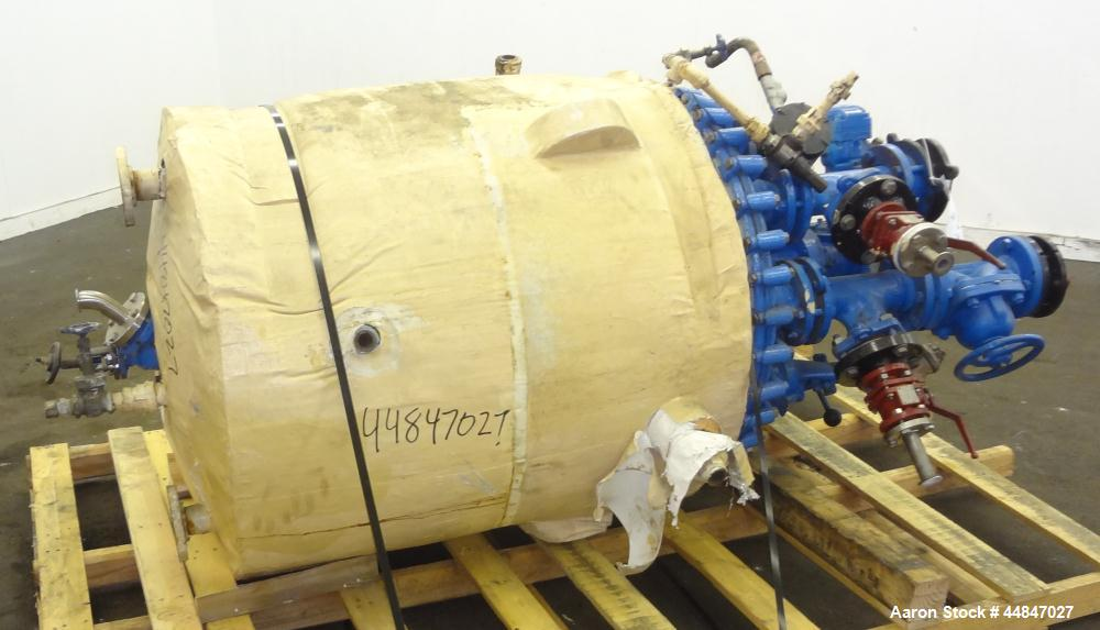 "Used- Pfaudler Clamp Top Glass Lined Reactor, 100 Gallon, 9119 Blue Glass, Vertical.  Approximately 30"" diameter x 36"" strai..."