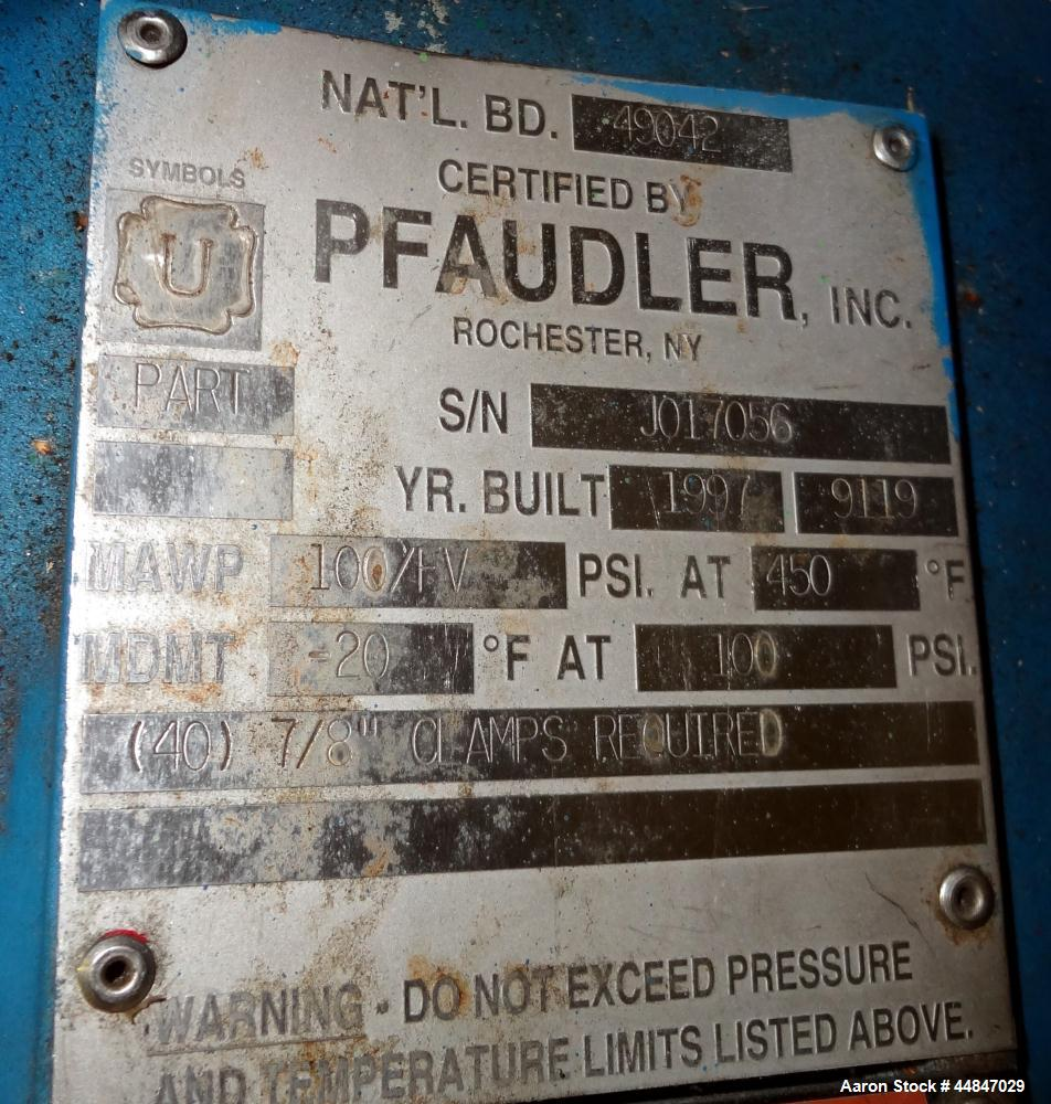 "Used- Pfaudler Clamp Top Glass Lined Reactor, 200 Gallons, 9115 Blue Glass, Vertical.  Approximately 40"" diameter x 36"" stra..."