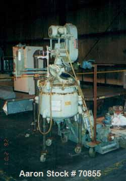 USED- Pfaudler Glass Lined Reactor, 20 Gallon, Vertical. Internal 150 PSI @ 450 Degrees F. Jacket 115 PSI @ 350 Degrees F. 2...