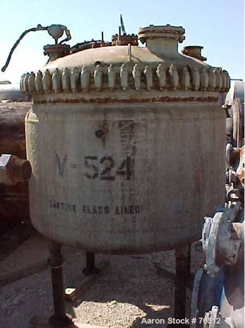 """USED: Pfaudler glass lined reactor, 500 gallon, vertical. 60"""" diameter x 36"""" straight side, clamp on dish top, dish bottom. ..."""