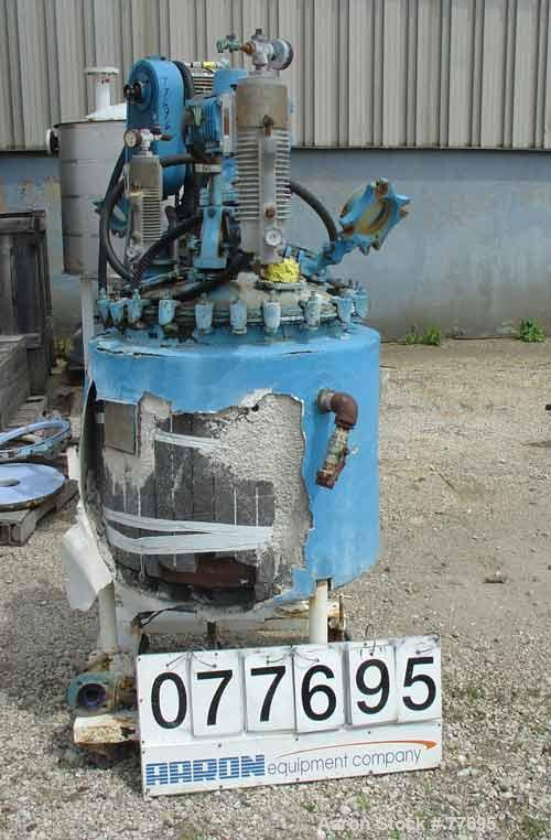 """Used- Pfaudler Glass Lined Reactor, 50 Gallon, 3315 Blue Glass. 32"""" Diameter x 12"""" straight side. Bolt-on dish head, dish bo..."""