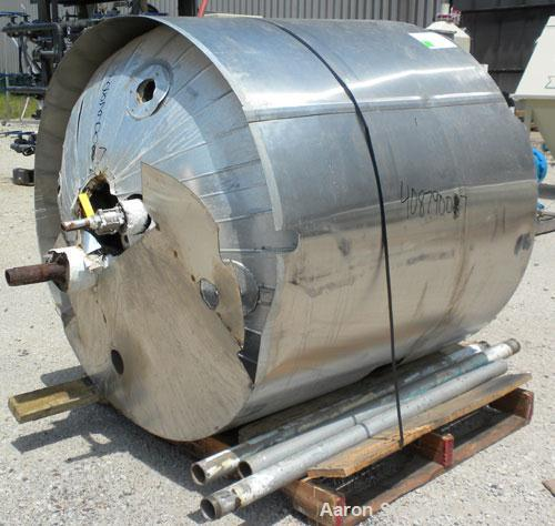 "Used- Alloy Fab Reactor, 150 Gallon, 316 Stainless Steel, Vertical. 40"" diameter x 30"" straight side. Bolt on dish top, dish..."