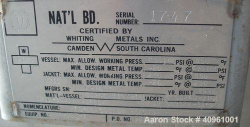"""Unused: Whiting Metals Inc Reactor, 3,500 Gallon, 316 Stainless Steel. 96"""" diameter x 10' straight side. Dished heads. Shell..."""