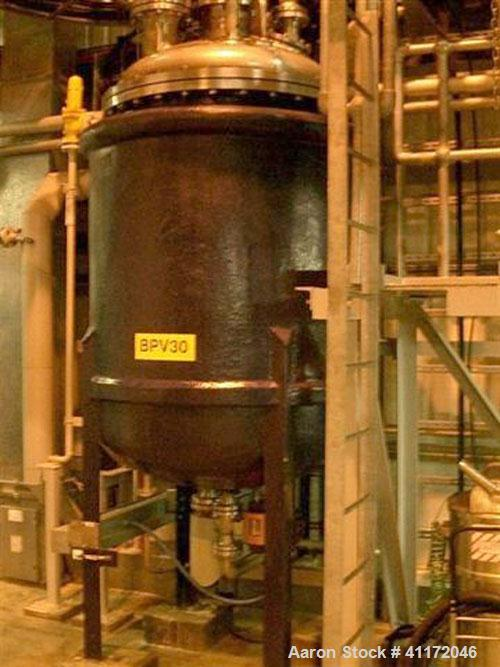 Used- James Bendall & Sons Reactor, Approximately 396 Gallon (1,400 liter), 316L Stainless Steel, Vertical. Bolted dished to...