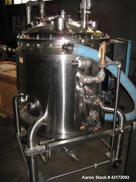 """Used- 300 Liter DCI reactor, 316L stainless steel construction, 30"""" diameter x 26"""" straight side, removable dish top, dish b..."""