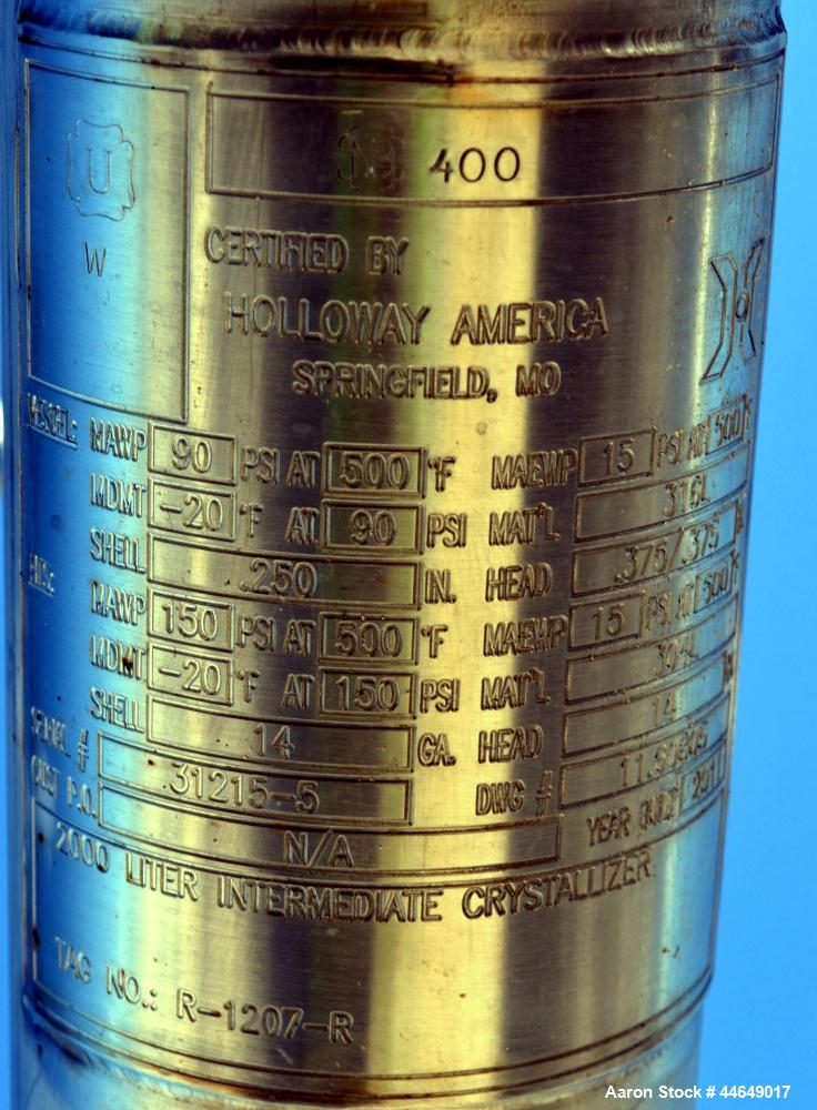 """Unused- Holloway America Reactor, 650 Gallon, 316L Stainless Steel, Vertical. Approximate 54"""" diameter x 60"""" straight side, ..."""