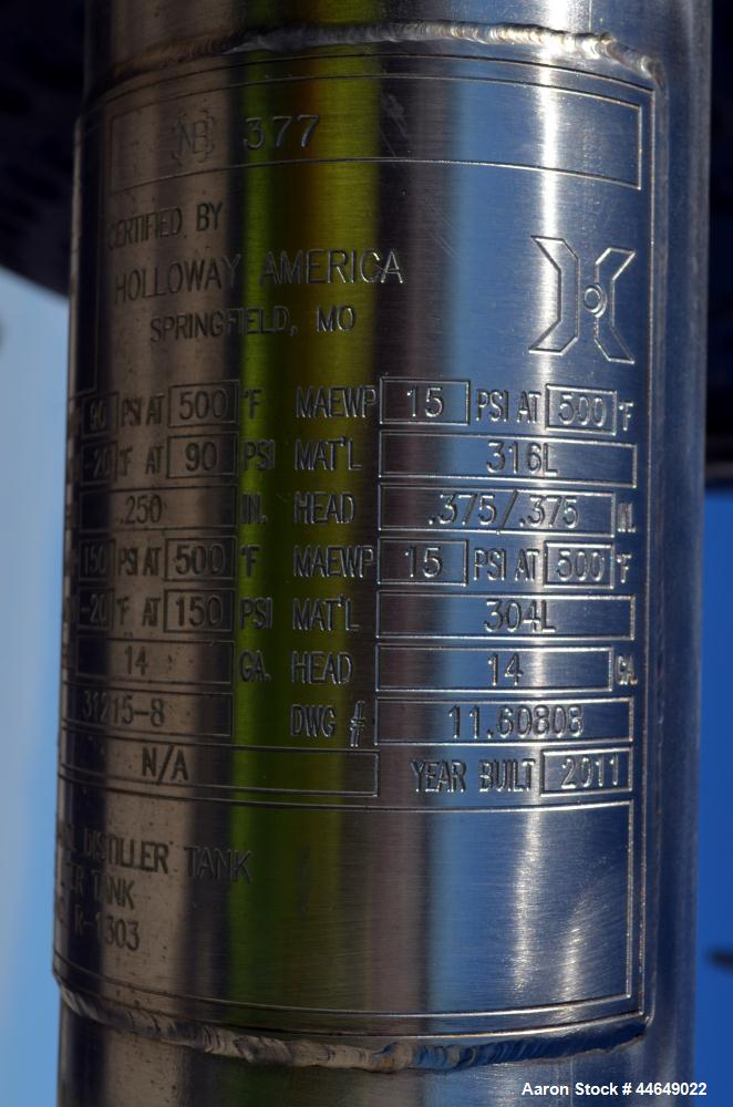 "Used-Unused Holloway America 1000 Gallon Reactor, 316L Stainless Steel, Vertical. Approximate 60"" diameter x 72"" straight si..."