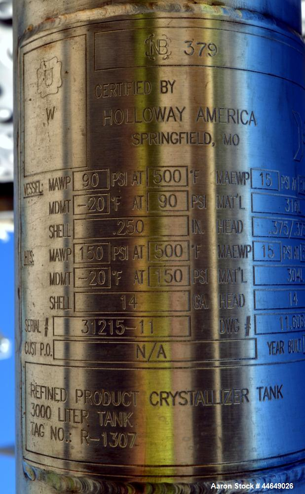 """Unused- Holloway America Reactor, 950 Gallon, 316L Stainless Steel, Vertical. Approximate 60"""" diameter x 72"""" straight side, ..."""