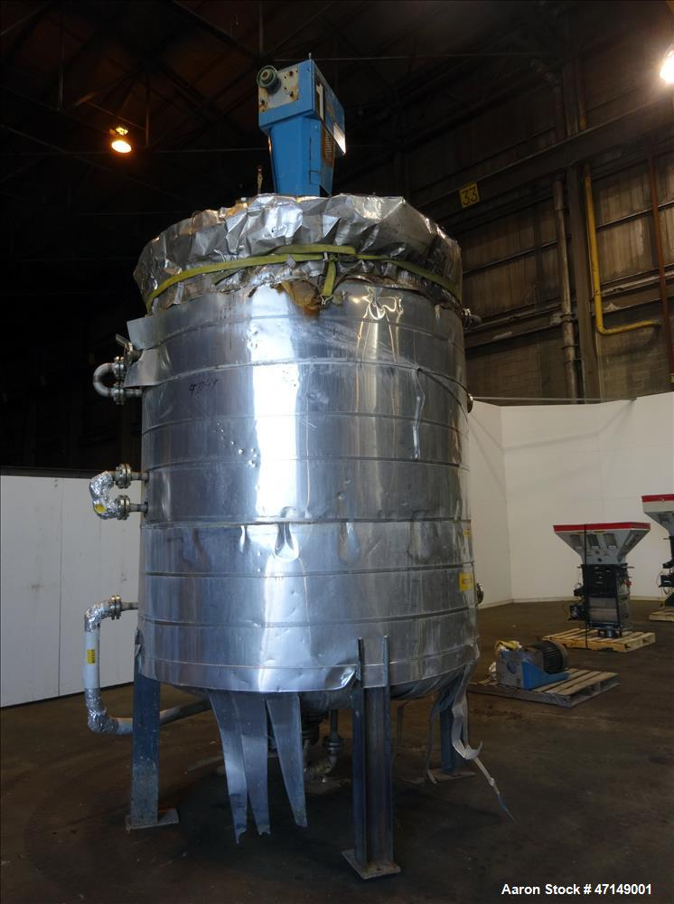 Used- Joe White Tank Co. Reactor, 3,000 Gallon, 316 Stainless Steel, Vertical.
