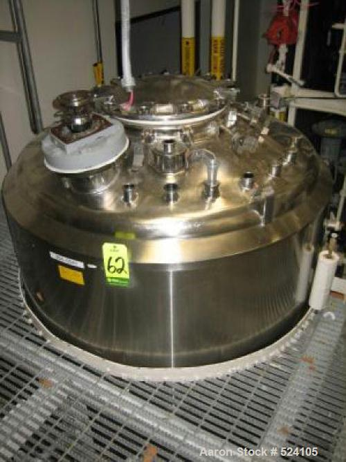 USED: Approximately 400 gallon stainless steel reactor with Lightnin1.17 hp agitator drive and shaft. Mounted on (4) Mettler...