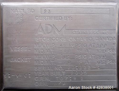 """Unused- ADM Stainless Reactor, 1500 Liter (396 Gallons), 316L Stainless Steel, Vertical. Approximate 42"""" diameter x 54"""" stra..."""
