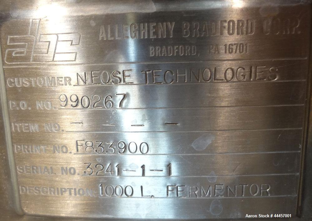 "Used- Allegheny Bradford Fermenter, 1000 Liter (264.25 Gallon), 316L Stainless Steel, Vertical.  29.6"" Diameter x 90"" straig..."