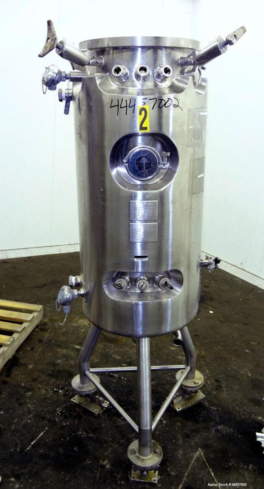 """Used- Allegheny Bradford Fermenter, 150 Liter (39.63 Gallon), 316L Stainless Steel, Vertical.  16"""" Diameter x 41"""" straight s..."""