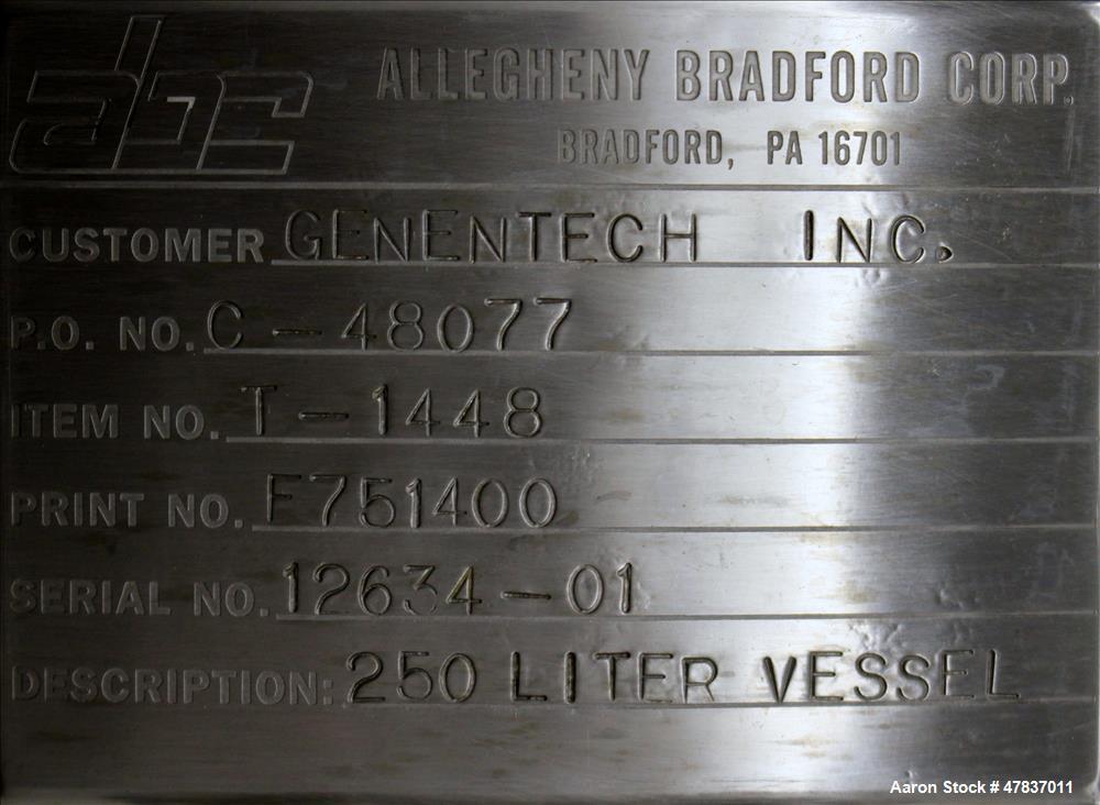 "Used-Allegheny Bradford Reactor, 250 Liter (66 Gallon), 316L Stainless Steel, Vertical. 24"" Diameter x 32"" straight side, di..."