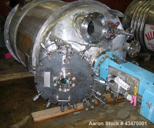"""Used-Alloy Fab Reactor, 750 gallon, 316L stainless steel, vertical.  54"""" Diameter x 70"""" straight side, 2:1 elliptical top an..."""