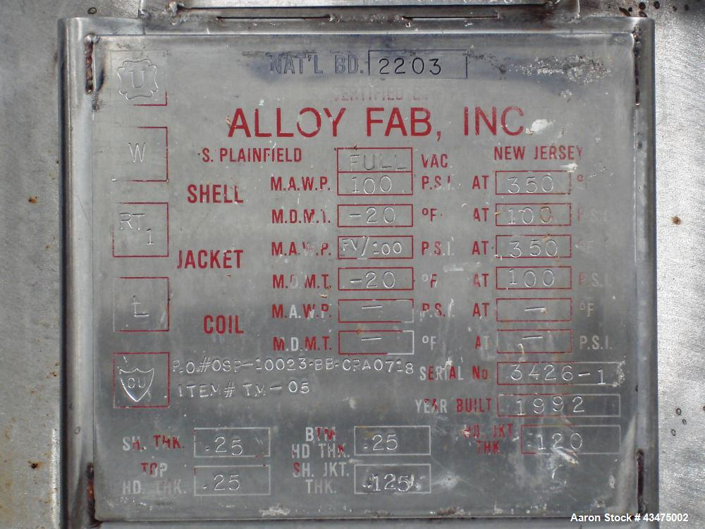 Used- 750 Gallon Stainless Steel Alloy Fab Reactor