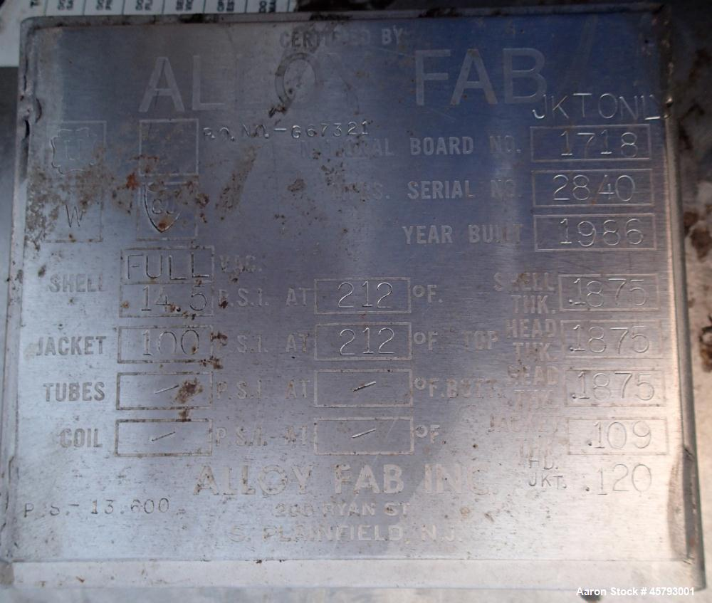 Used- Alloy Fab Inc. Reactor, Approximately  500, 304 Stainless Steel