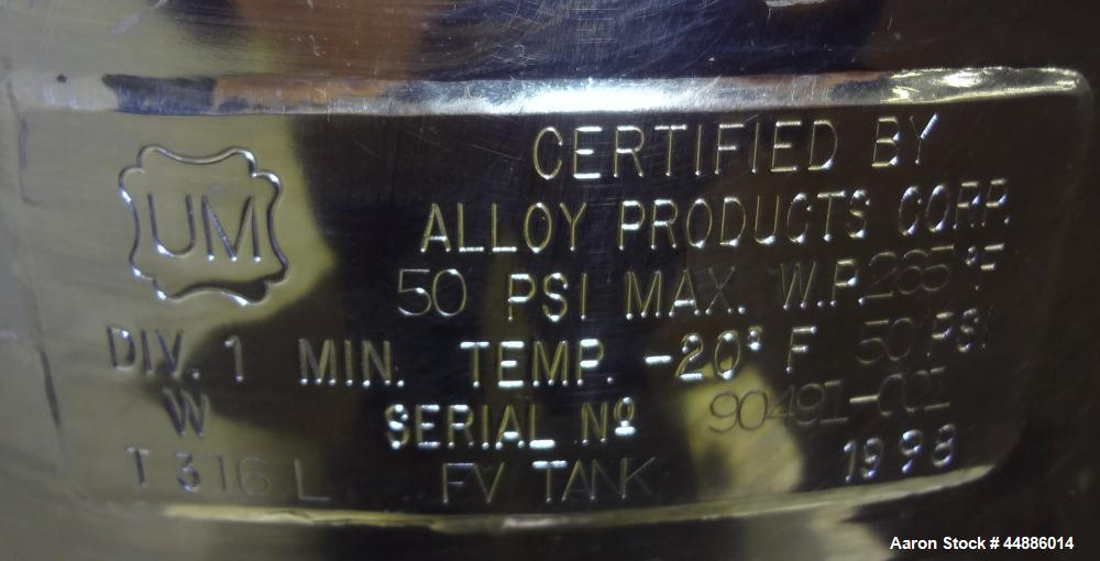 Used- Alloy Products Reactor, 30 Liter (7.9 Gallon), 316L Stainless Steel, Verti