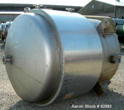 "USED: Arrow Tank and Engineering Reactor, 1100 gallons, 316L stainless steel, vertical. 66"" diameter x 68"" straight side, di..."