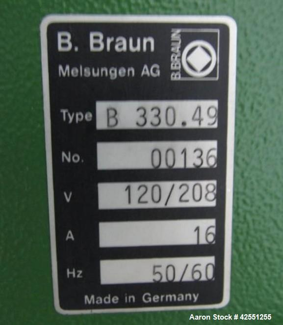 "Used- B Braun fermenter, 135 liter, 316L stainless steel construction, approximately 18"" diameter x 29"" straight side, hinge..."
