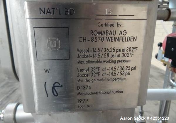 "Used- Bioengineering Fermentor, 16 Liter (4.2 Gallon), Stainless Steel. 8"" Diameter x 18"" straight side. Flat top, dished bo..."