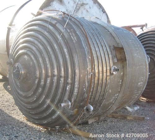 Used- Brighton Corporaton Reactor, 2,500 Gallon, 904L Stainless Steel, Vertical. 90'' Diameter x 84'' straight side, dished ...