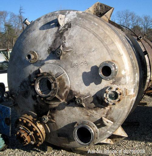 Used- Brighton Corporaton Reactor, 3,000 Gallon, 904L Stainless Steel, Vertical. 96'' Diameter x 84'' straight side, dished ...