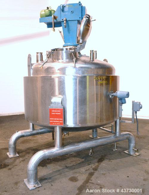 """Used- Brighton Corporation Reactor, 500 Gallon, 316L Stainless Steel, Vertical. Approximately 66"""" diameter x 27"""" straight si..."""