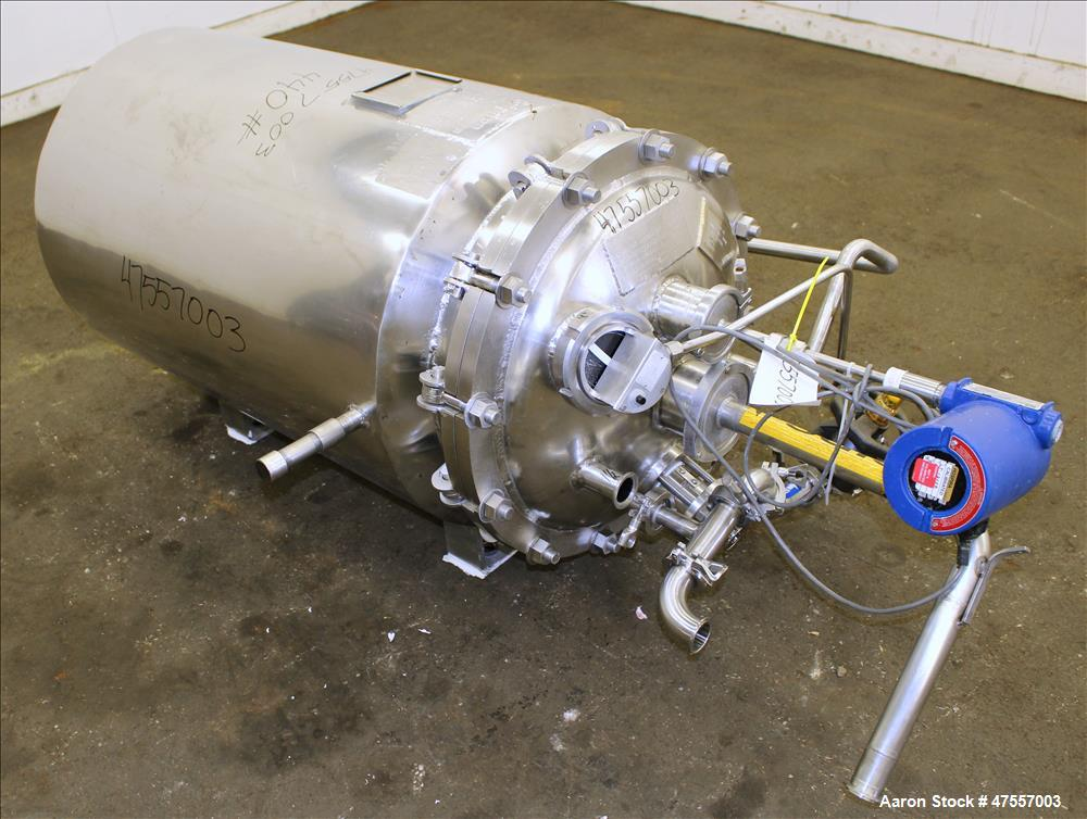 Used- Brighton Corp. Reactor, Approximate 50 Gallon, 316L Stainless Steel, Verti