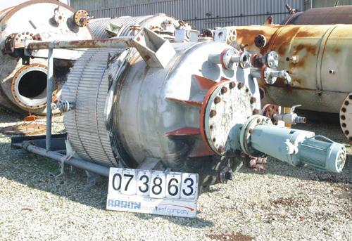 """Used- Central Fabricators Reactor, 600 Gallon, 304 Stainless Steel, Vertical. 54"""" Diameter x 55"""" straight side, dished top a..."""