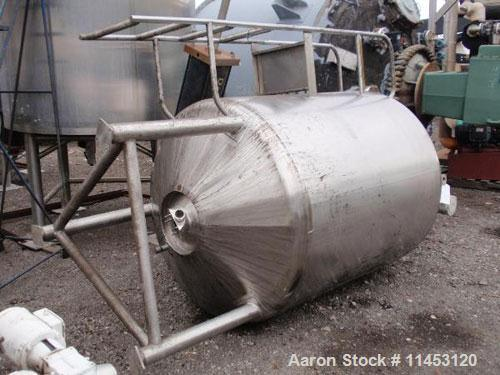 "Used-1750 Liter (462 Gallon) Cherry Burrell Reactor, 316 stainless steel construction. 48"" diameter x 48"" straight side, dis..."