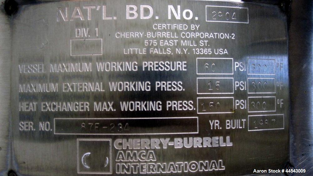 Used- 500 Gallon Stainless Steel Cherry Burrell Reactor