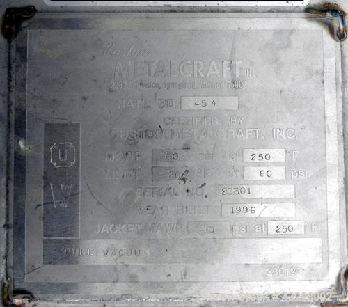 "Used- Custom Metalcraft Reactor, 5,000 Gallon, 304L Stainless Steel, Vertical. 96"" Diameter x 165"" straight side, 2:1 ellipt..."
