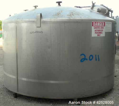 """Used- DCI Reactor, 2000 Gallon, 316L Stainless Steel, Vertical. 114"""" Diameter x 32"""" straight side, dished top and bottom. In..."""