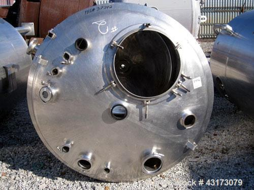 """Used- DCI Reactor, 2500 Liter (660 Gallon), 316L Stainless Steel Construction. 56"""" Diameter x 61"""" straight side, dish top an..."""