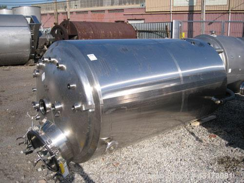 "Used- DCI Reactor, 2500 Liter (660 Gallon), 316L Stainless Steel Construction. 48"" Diameter x 81"" straight side, dish top an..."