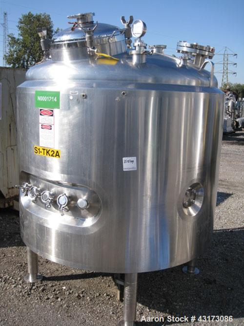 """Used- DCI Reactor, 1500 Liter (396 Gallon), 316L Stainless Steel Construction. 56"""" Diameter x 30"""" straight side, dish top an..."""
