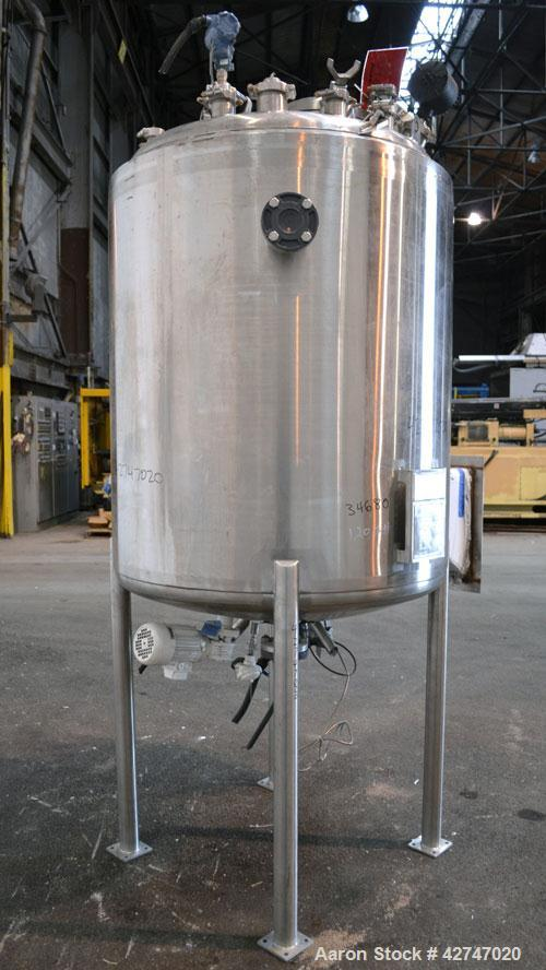 Unused- DCI Reactor, 1200 Liter (317 Gallon), 316L Stainless Steel, Vertical. 42'' Diameter x 49'' straight side, dished top...