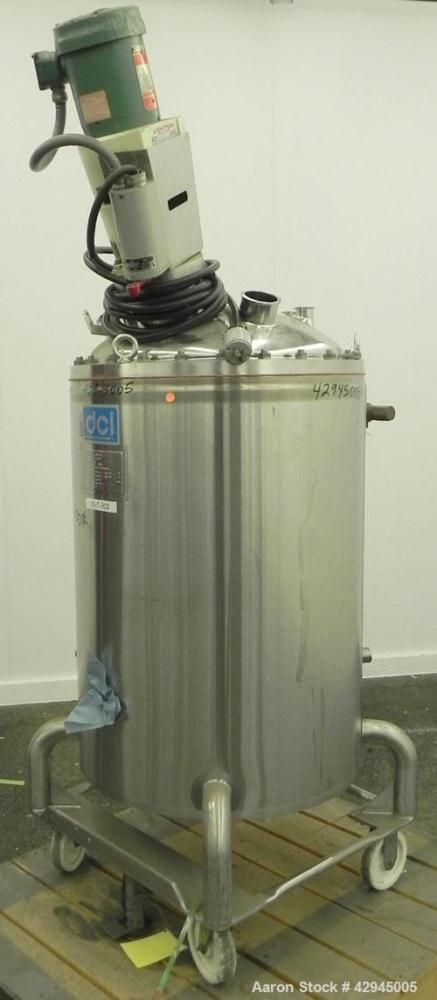 """Used- DCI Reactor, 66 Gallon, 316 Stainless Steel, Vertical. 23-3/4"""" Diameter x 30"""" straight side, dished bolt on top, dishe..."""