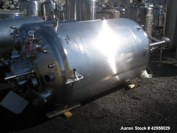 """Used- DCI reactor, 450 gallons 316L stainless steel constrcution, 48"""" diameter x 66"""" straight side, dish top and bottom, rat..."""