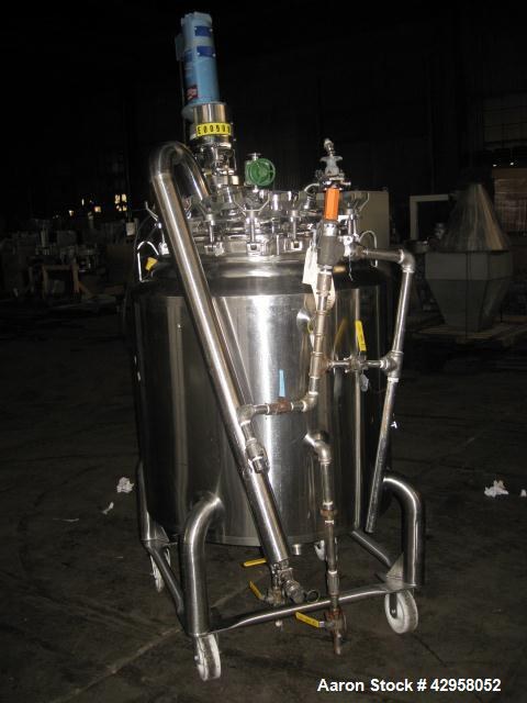 "Used- 300 Liter DCI Reactor, stainless steel construction, 32"" diameter x 32"" straight side, hinged dished top, dished botto..."