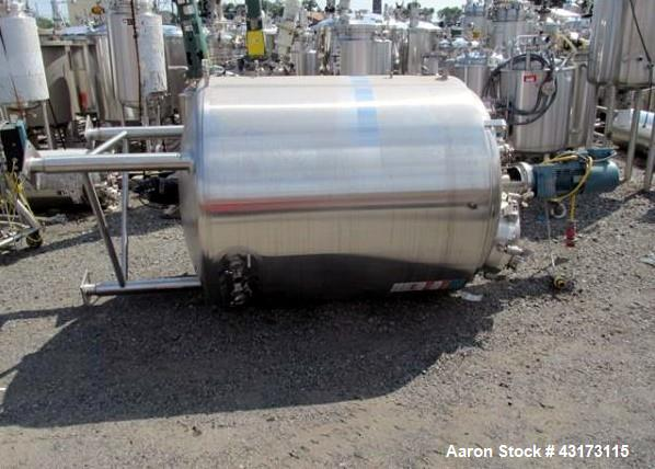 "Used- DCI Reactor, 1900 Liter, 316L Stainless Steel. Approximately 48"" diameter x 54"" straight side, dish top and bottom, ra..."