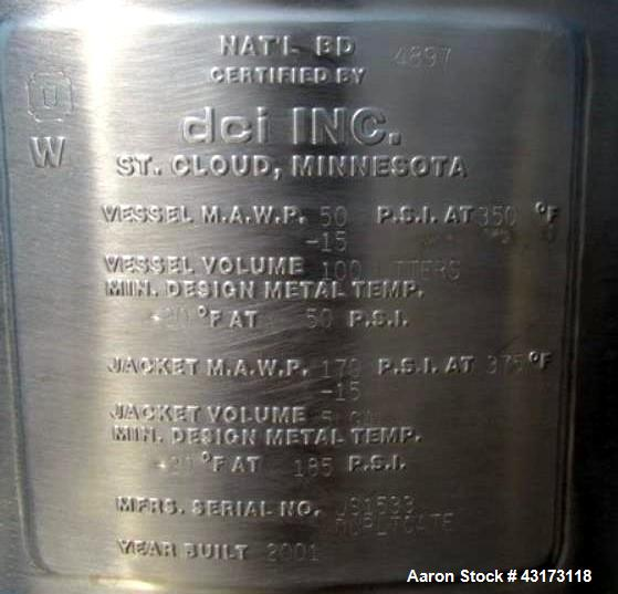 "Used- DCI Reactor, 100 Liter. 316 Stainless steel construction, approximately 24"" diameter x 10"" straight side with bottom s..."