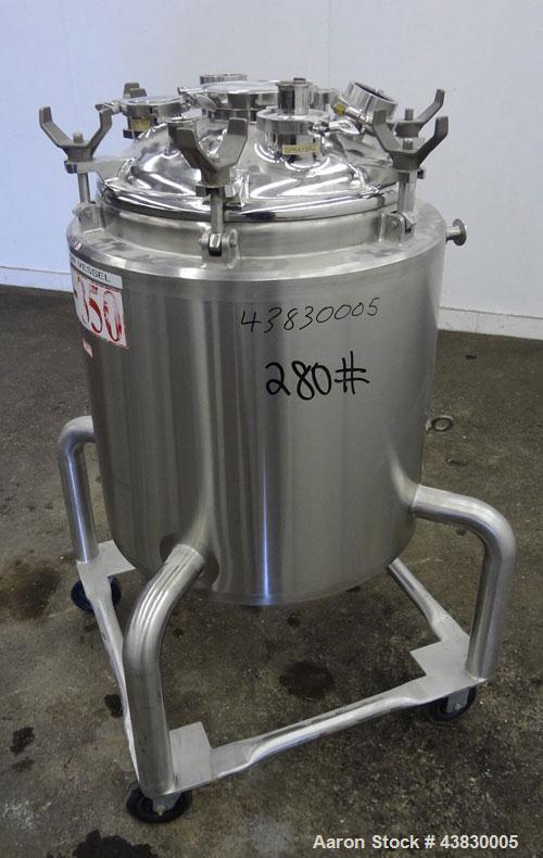 "Used- DCI Reactor, 100 Liter (26.4 Gallon), 316L Stainless Steel, Vertical. Approximately 20"" diameter x 22"" straight side. ..."