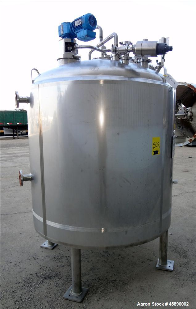 Used- DCI Reactor, 500 Gallon, 316L Stainless Steel, Vertical