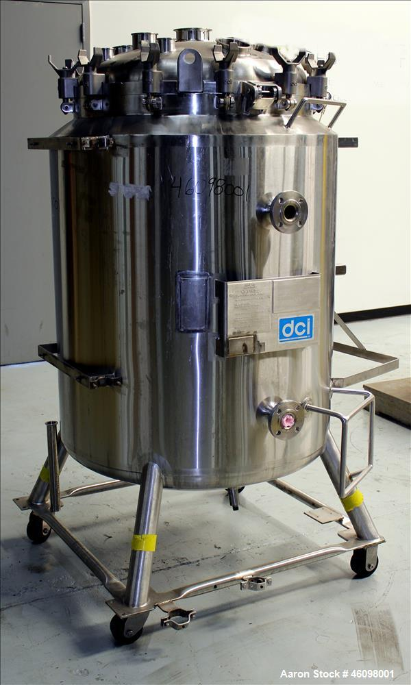 "Used- DCI Reactor, 400 Liter (105.66 Gallon) 316L Stainless Steel, Vertical. 30"" Diameter x 44"" straight side. Dished top an..."