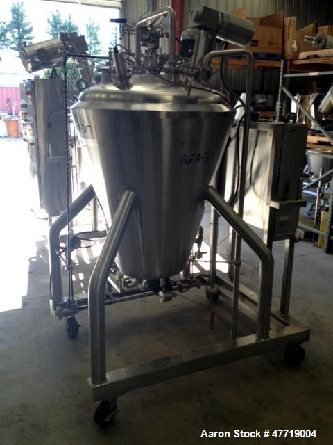 """Used- DCI Reactor, 370 Liter (97.7 Gallon), 316L Stainless Steel, Vertical. 38"""" Diameter x approximate 42"""" deep 29 degree co..."""