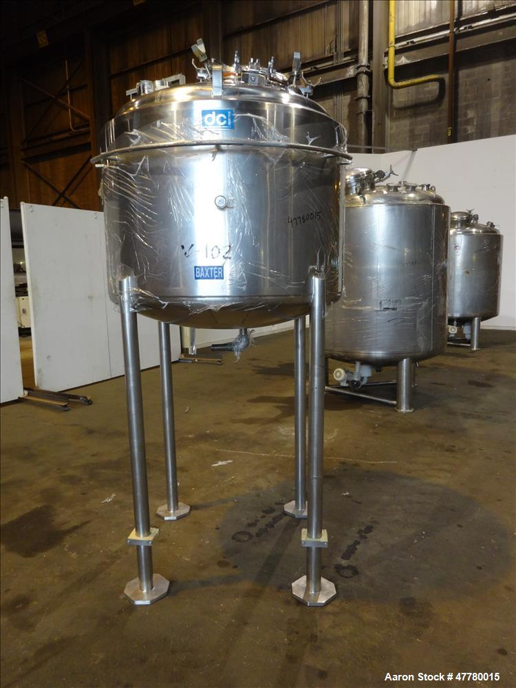 Used- DCI Reactor, 850 Liter (224 Gallon), 316L Stainless Steel, Vertical.
