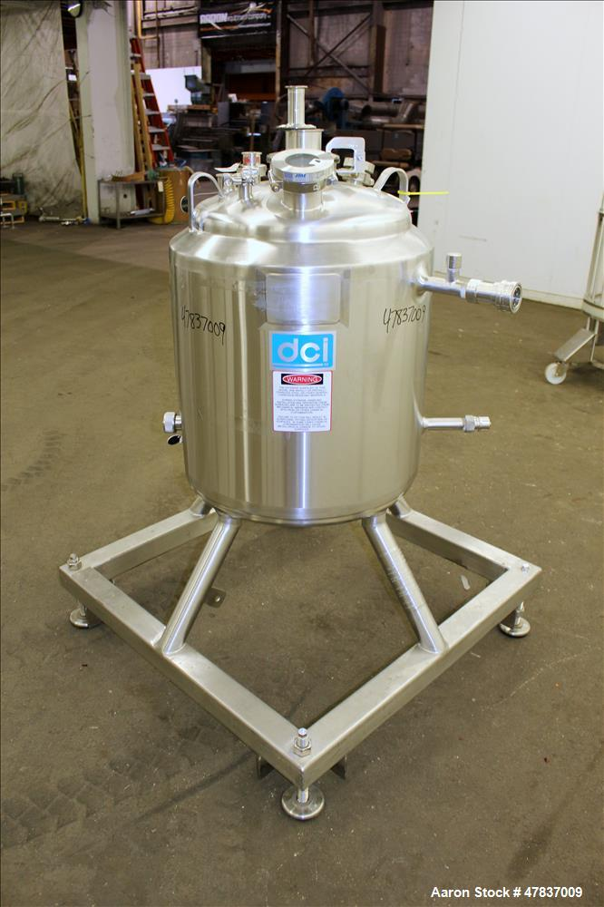 "Used-DCI Reactor, 100 Liter (26 Gallon), 316L Stainless Steel, Vertical. 20"" Diameter x 21"" straight side, dished top & bott..."