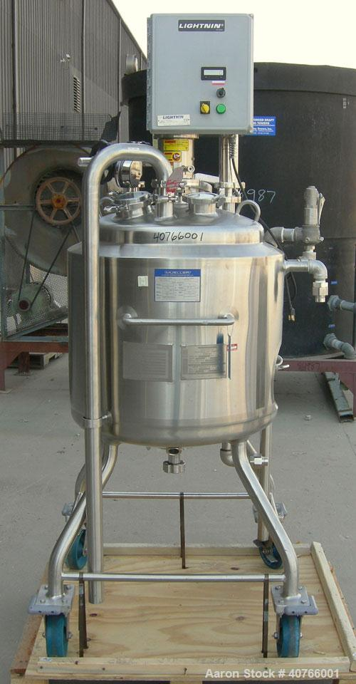 "Used- Mueller Reactor, Model F, 26.4 gallons, 316L stainless steel, vertical.  22"" diameter x approximately 17"" straight sid..."